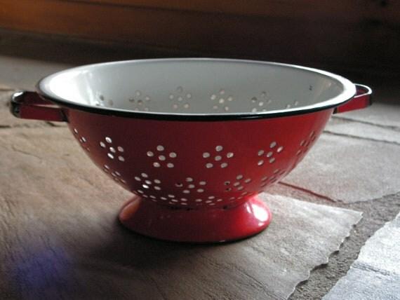 Vintage Red Orange Made in Japan Kitchen Enamelware Bowl Colander