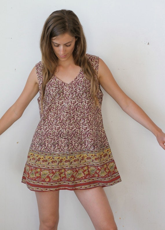 indian summer -- vintage 80's ethnic indian mini cotton dress size  L