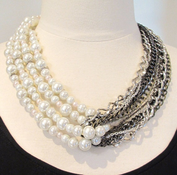 Pearl necklace- chain cluster necklace- mixed chains statement necklace- looped pearls and chain necklace-Queen Of Pearls Necklace