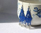 EARRINGS - Chandelier Long - Sapphire blue - Free Standing Lace Embroidery
