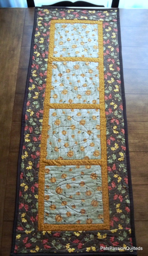 Quilted Table Runner Pumpkins and Maple Leaves