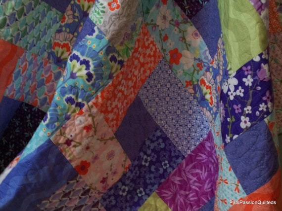 Reserve Listing for Miley-Lap Quilt Good Fortune in Teals, Greens, Purples, Oranges and Greys