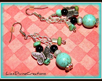 Turquoise, Magnesite,Black Obsidian, and Buterfly Earrings SALE Was 15.99 Now Only 10.99