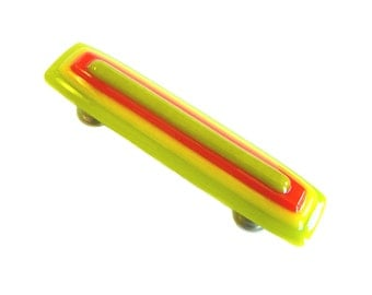 Lime Green Citrus Glass Drawer Pulls or Cabinet Handles