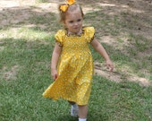 Handmade Dress with Shirring in Yellow and Black with Bees in size 12mo, 2, 3, or 4