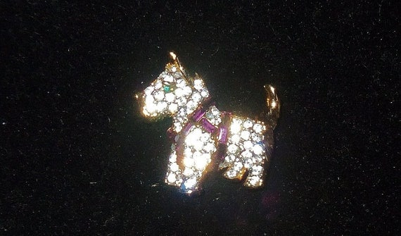 Vintage Scottie Dog Rhinestone Pin Brooch KJL Kenneth J Lane