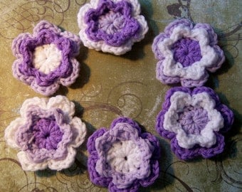 Purple ,Lavender and White Crochet Flowers