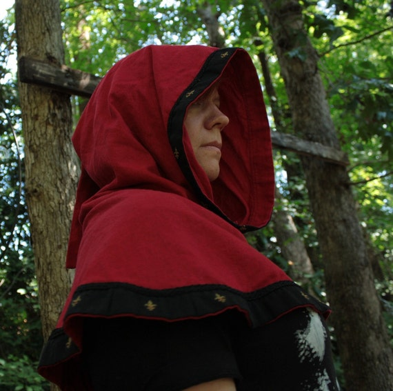Medieval Cowl or Hood in Bright red Linen, black, gold fleur de lis gold trim, for SCA GARB, Halloween, LARP costume