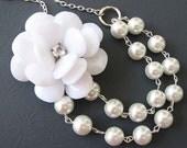 Bridal Jewelry Flower Necklace White Jewelry Statement Necklace Bridesmaid Jewelry White Pearl Necklace Romantic Bib Jewelry Double Strand