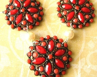Statement Necklace Red Jewelry Coral Necklace Bridesmaid Jewelry Flower Necklace Bib Necklace