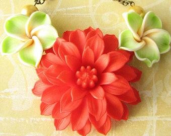 Statement Necklace Flower Necklace Red Jewelry Bib Necklace Statement Jewelry Coral Necklace Gift For Her