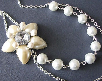 Bridal Jewelry Pearl Wedding Necklace Wedding Jewelry Bridal Necklace Rhinestone Flower Necklace Bridesmaid Jewelry