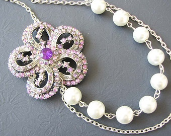 Purple Bridal Jewelry Flower Necklace Antique Wedding Jewelry Pearl Bridal Necklace Rhinestone Statement Necklace Purple Bridesmaid Gift Set