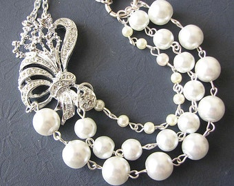 Bridal Necklace Vintage Wedding Jewelry Pearl Necklace Bridal Jewelry Statement Necklace Multi Strand