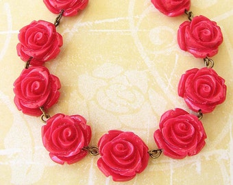 Red Rose Necklace Red Necklace Choker Necklace Resin Flower Necklace Rose Jewelry Bridesmaid Gift