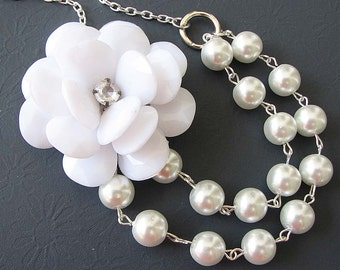 Bridal Jewelry Flower Necklace Pearl Jewelry Statement Necklace Bridesmaid Jewelry Wedding Necklace Gift For Her