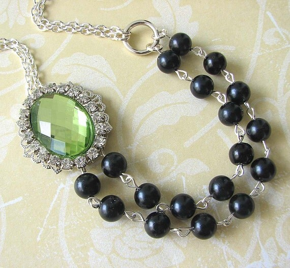 Reserved for Caitlin - Bridal Jewelry Black Pearl Necklace Wedding Jewelry Green Necklace