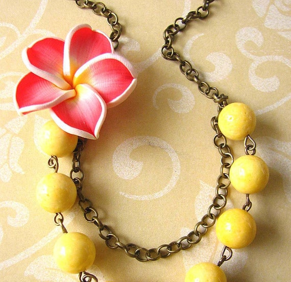 Orchid Necklace Flower Jewelry Beaded Necklace Yellow Necklace Bridesmaid Jewelry Red Necklace Gift For Her