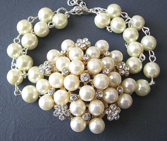 Pearl Bridal Bracelet Bridal Jewelry Pearl Bracelet Wedding Jewelry Bridesmaid Jewelry Maid of Honor Bracelet Ivory Pearls Bride Gift Set