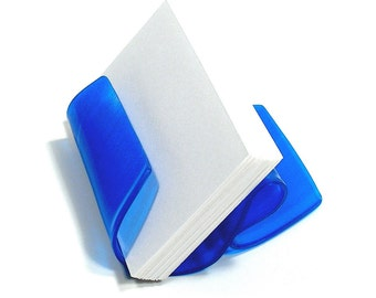 Blue Colored Vinyl Record Album Business Card Holder / CD Display / iPhone Stand