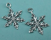 Sterling Snowflake Snow Flake Charm  3 PCs 925 sterling silver -14.3x18.5mm