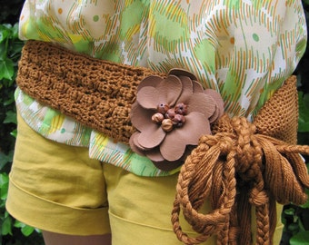 "SALE ! - ""Caramel Flower"" Crochet Belt"