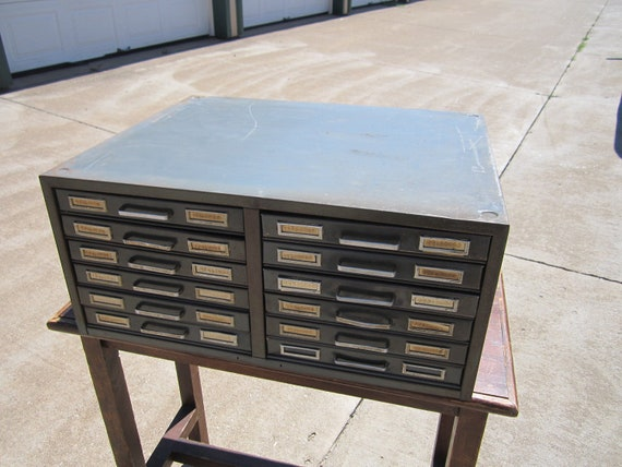 Reserved for Mona...Vintage 1920s/30s Heavy Industrial Metal Counter Cabinet with Twelve Drawers