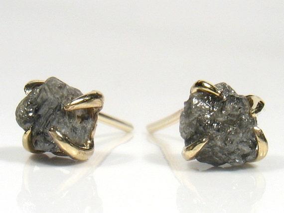 Raw Rough uncut diamond on gold stud