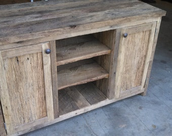 YOUR Custom Made Rustic Barn Wood Entertainment Center, Double Vanity, tv Stand or Sideboard Dresser or Cabinet with FREE SHIPPING - BWE145F