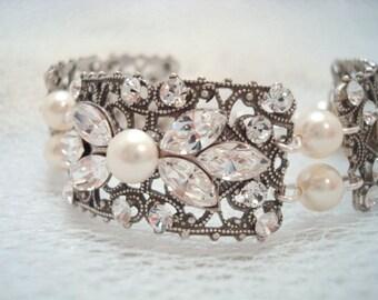 Bridal bracelet, Crystal bracelet, Swarovski bracelet, Bridal jewelry, Vintage style bracelet, Wedding jewelry, Swarovski crystal