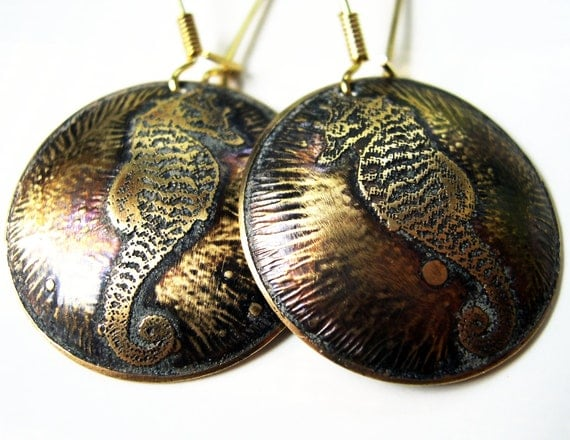 Etched Brass Earrings Seahorse