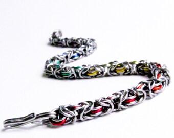 Thin Chainmaille Bracelet - Rainbow Byzantine