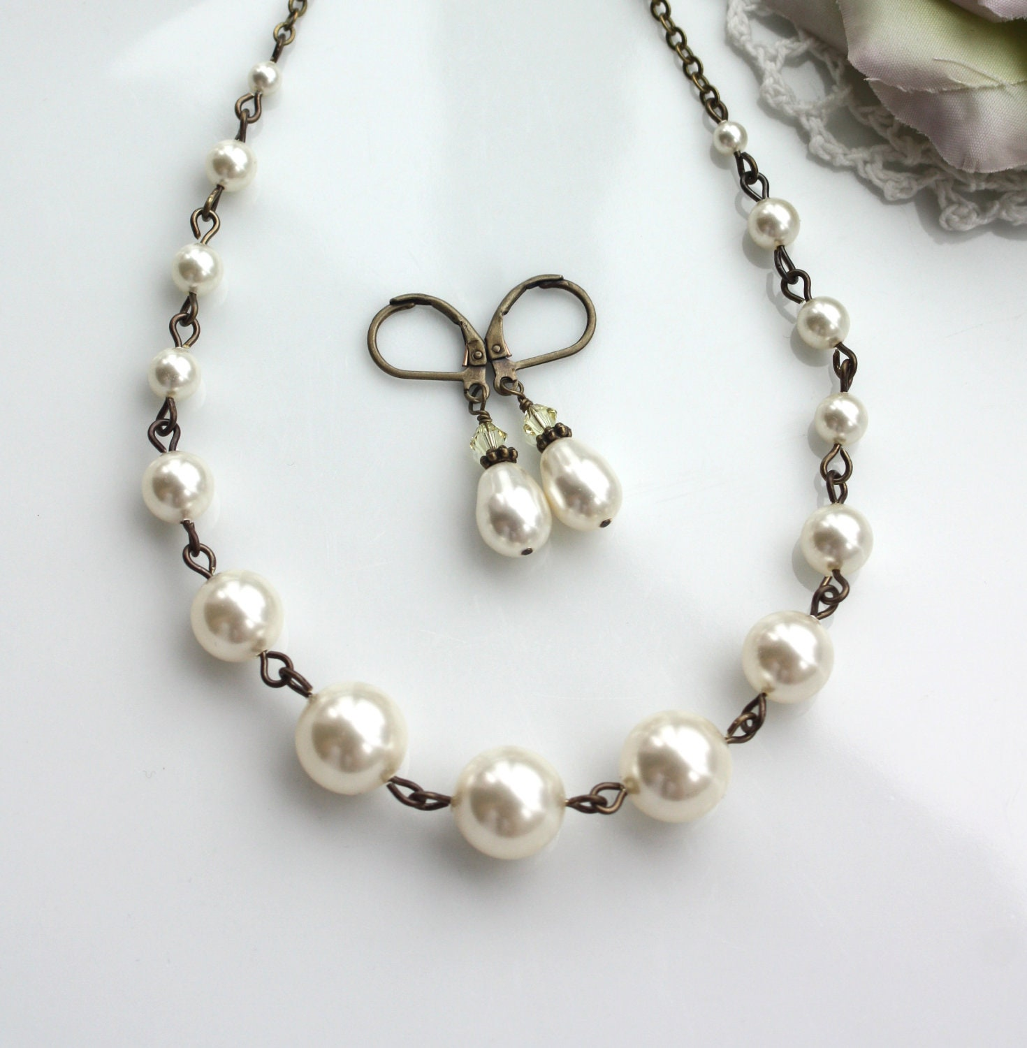 Wedding Jewelry Set Of Ivory Pearl Necklace Amp Earrings