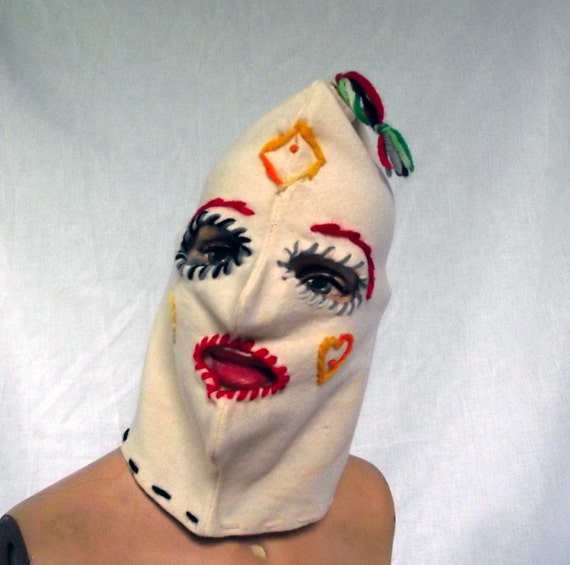 60s Ski Mask Scary Mask . Lord N Taylor Wool Ethnic Inspired Design