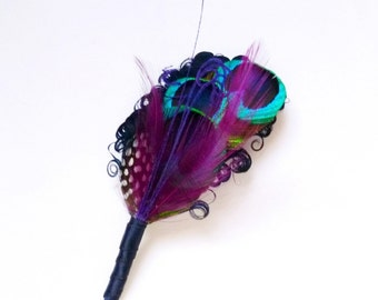 ELLIE Peacock Boutonniere or Lapel Pin - Navy Blue with Peacock Eyes and Purple Wisps