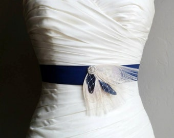 Navy Blue and Ivory Cream Peacock Feather Bridal Sash with Birdcage Veiling - BRISTOL - Made to Order