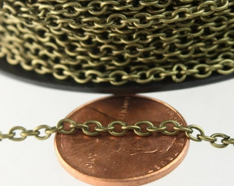 100 ft spool of Antique Brass / Bronze Round cable chain - 3.0x2.1mm Sturdy unsoldered link Bulk chain