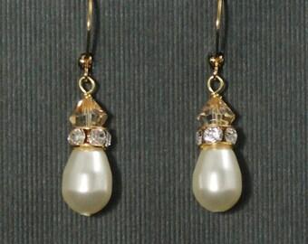 Gold Pearl Wedding Earrings, Teardrop Pearl Earrings, Crystal Pearl Wedding Earrings, Pearl Bridal Drop Earrings, Rhinestones -- ADELE