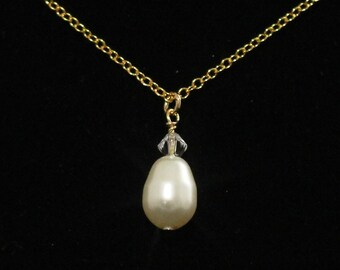 Pearl Necklace Bridesmaid Bridal Party Jewelry Gold Ivory Cream Pearl Pendant Champagne Crystal Custom Wedding Colors Teardrop -- CORRINE