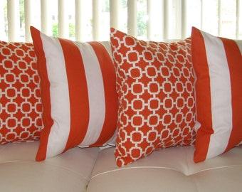 Orange White Outdoor STUFFED Throw Pillow, Orange Stripe Pillows, Lattice Throw Pillow, Orange Patio Pillow, Outdoor Cushion 4 PK Free Ship