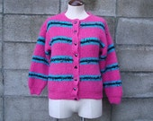 Colorblock Cardigan Sweater Vintage 1980s Pink Turquoise and Black