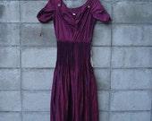 Purple Taffeta Dress 1950s Deadstock Prom Party Pleats