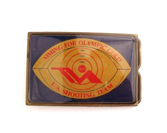 Belt Buckle Vintage 1980s Aiming for Olympic Gold US Shooting Team