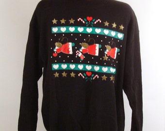 Ugly Christmas Sweater Vintage Sweatshirt Pastel Angels Turtleneck