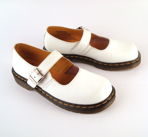 Doc Martens Shoes Mary Janes 1990 White Leather Shoes T strap UK size 8