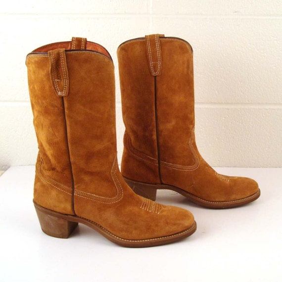 Suede Cowboy Boots Vintage 1970s Carmel Tan Brown Stacked Heel LL Bean Men's size 10