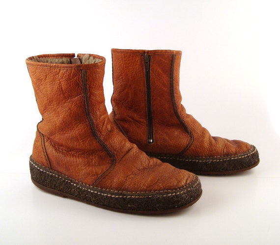 Brown Ankle Boots Vintage 1970s Zip Boots Leather Short Hippie Sioux Men's 10