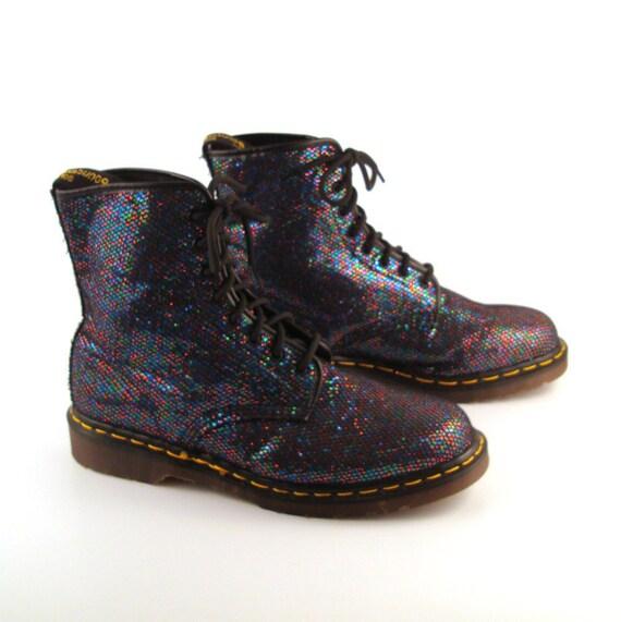 Glitter Doc Martens Vintage 1990 Black Glitter Dr Boots UK Size 11