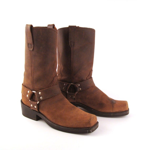 brown harness boots vintage 1980s durango leather s