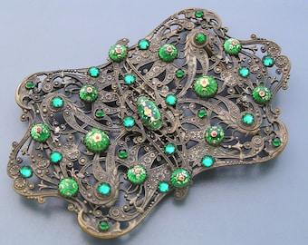 Antique Victorian Belt Buckle French Bresse Enamel Brass Paste Glass Huge Statement piece